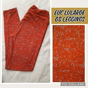 Used Lularoe leggings OS - red and blue coral